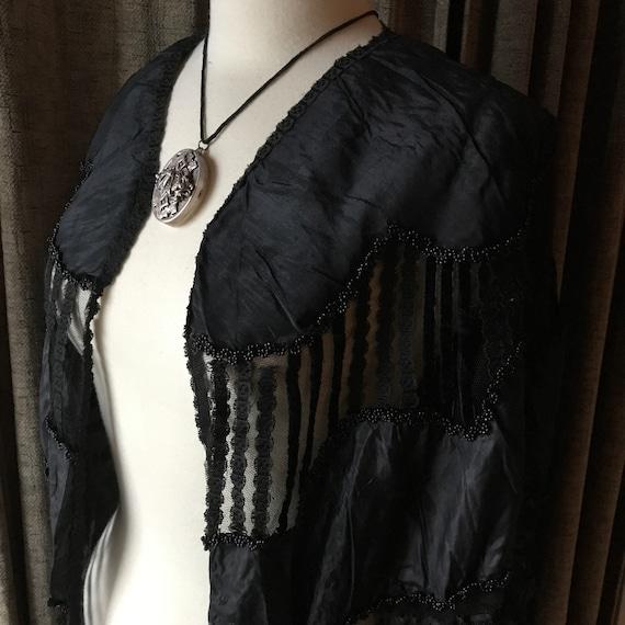 Victorian Black Beaded Cape - image 1