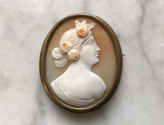 Victorian Cameo PendantBrooch~Antique Italian Cameo Hand Carved Shell~Woman with Upswept Hair~Shell cameo Gilt Brass~JewelsandMetals