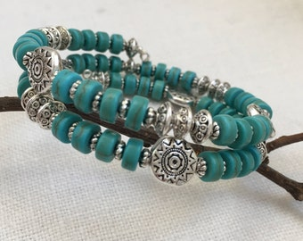 SOUTHWESTERN Turquoise and Silver Memory Wire Bracelet, Turquoise and Silver Sun Bracelet, Southwestern Bracelet, Silver Bangle (M-122)