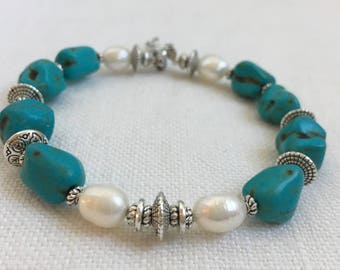 Turquoise Pearl and Tibetan Silver Bangle Bracelet, Turquoise and Pearl Memory Bracelet, Southwestern Turquoise Bracelet, Stackable (M-48)