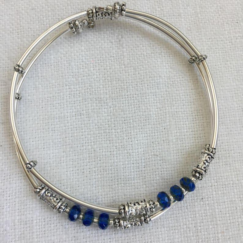 Silver and Sapphire Czech Picasso Memory Wire Bracelet M-91 Minimalist Bangle Czech Crystal Bangle Silver Bangle Silver Tube Bangle