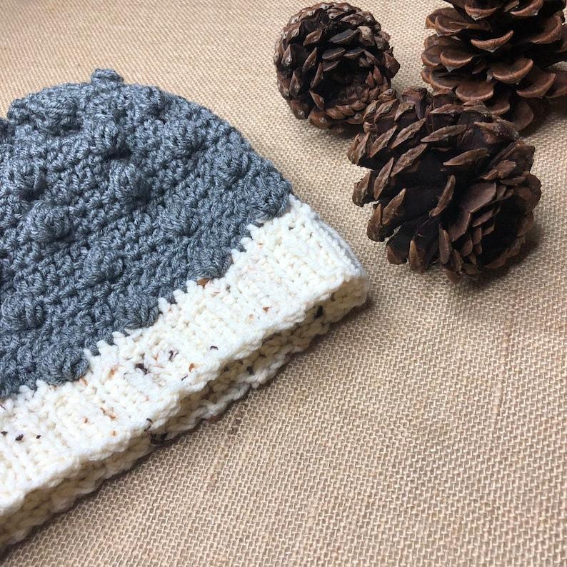 Hand Knit Crochet Grey Winter Hat Slouchy Hat Women Winter Hat Puff Beanie Cozy Thick Winter Hat Cozy Unsex Beanie Hat