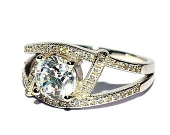 92.5 Sterling Silver Zircon Wedding Ring/Engagement Ring/Propose Ring/5771-74
