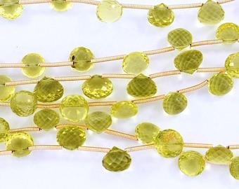 Gem Quality-Natural Lemon Quartz Green Gold Faceted Onion Shape Briolette Beads 7-8mm 10 Beads(2759-2767)