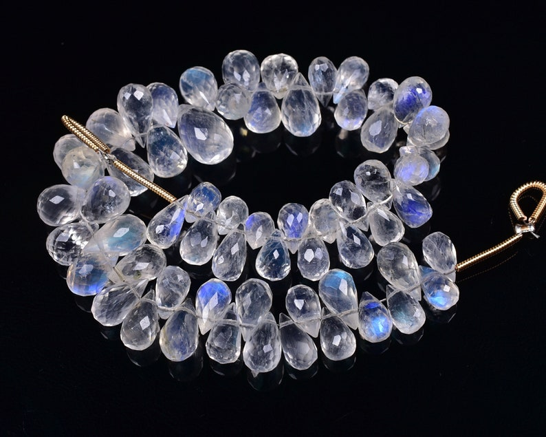 White Moonstone Drop Briolettes,White Moonstone drops strand,Jewelry making beads,Supplies beads,Moonstone drop shape Briolettes strand