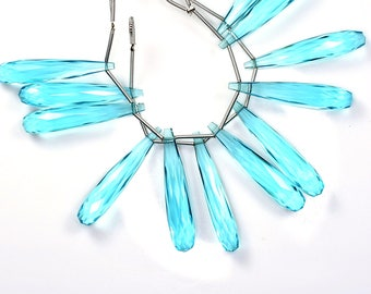 AAAA 3 Matched Pair 35mm Vivid Sky Blue Topaz Quartz Faceted Long Tear Drop Briolette Beads Strand