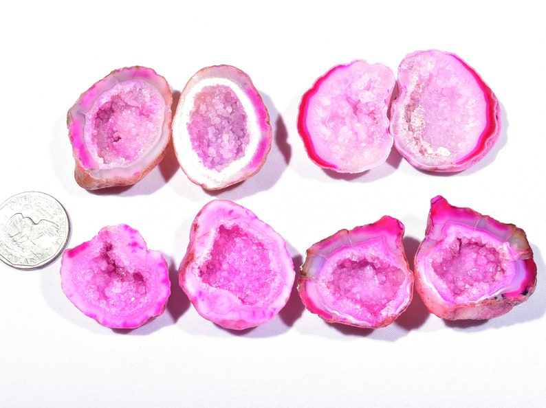 4 Pair Natural Pink Agate Geode Druzy Pair BeadsPink Open Geode With Druzy Pair 33x36x14-34x43x13mm 815 Cts 7363-64
