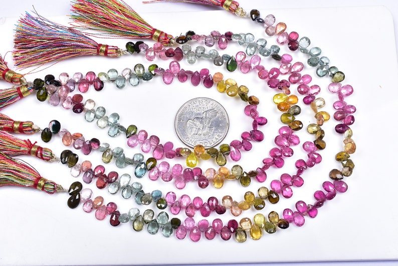 5842-44 Good Quality Lustrous 10 Inch Strand 5x7-6x9mm Natural MULTI TOURMALINE PEAR Briolette Beads Strand 70 Beads Apx