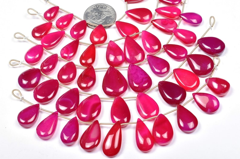 11x15-19x27mm Designer Natural Dark Fuschia Pink Chalcedony Pear Smooth Shape Beads Strand-10 Beads 4078-80