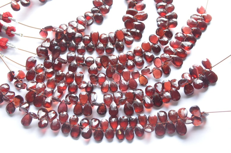 3 Strands AAA 6 Inch 6x9-7x12mm Natural Mozambique Red Garnet Faceted Pear Shape Briolette Beads Strand-45 BeadsStrand Apx 0799-0202-03-04