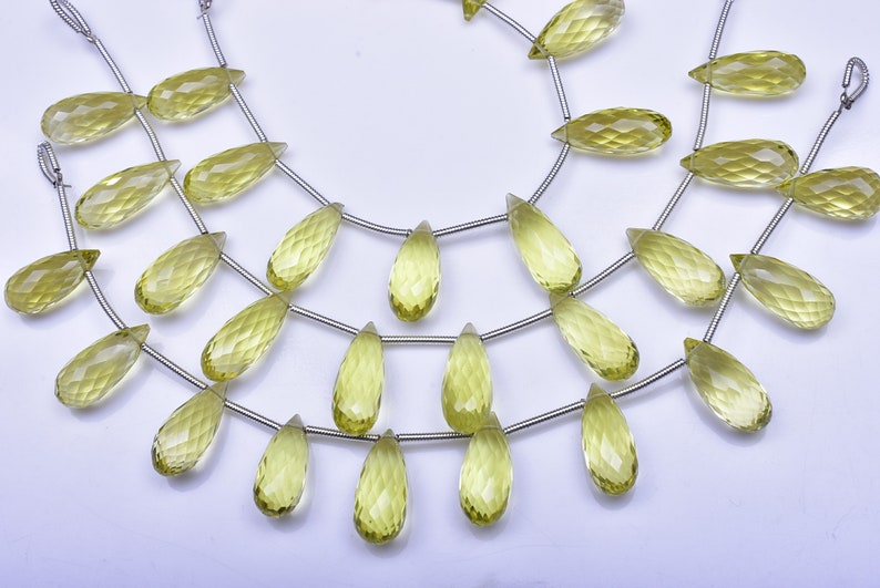 3660-61 AAAA Gem Grade 13-17mm Natural Lemon Quartz Green Gold Gemstone Microfaceted Tear Drop Briolette Beads-10 BeadsStrand
