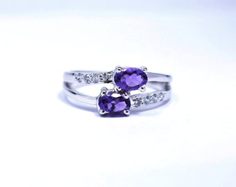 Jewels-Size 7-Natural Amethyst Ring-5x7mm Amethyst Oval-February Birthstone Ring-Promise Ring-Birthday Gift-Propose Ring-Valentine Ring