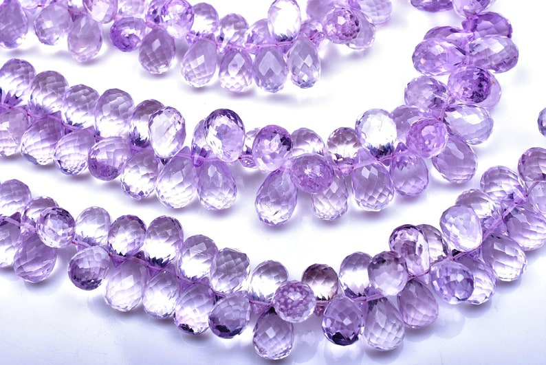 AAA 8 Inch Strand-10mm-Superfine Eye Clean Quality-Natural Pink Amethyst Faceted Tear Drop Briolette Beads-68 Beads 3149-50