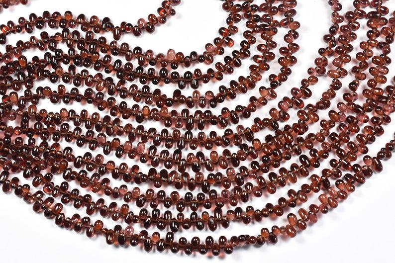 AA 8.5 Inch 5-6mm Vivid Pyrope Red Garnet Smooth Tear Drops Beads Strand-Garnet Tear Drop Beads Strand 0268-70-73