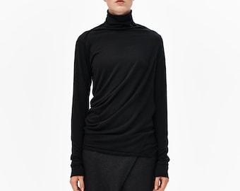 Black Long Sleeved Blouse / Draped Black Turtleneck / Minimalist Top / Asymmetrical Black Blouse / Drape Blouse AryaSense TPL14BLК