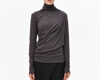 Brown Grey Loose Top / Brown-grey Blouse / Casual Minimalist Blouse / Long Sleeved Turtleneck / Asymmetrical Drape AryaSense TPL14BGR