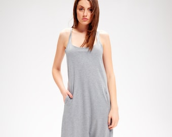 Long Grey Romper / Minimalist Romper / Drop Crotch Jumpsuit / Handmade Jumpsuit / Grey Cotton Romper / Harem Jumpsuit AryaSense RSLLS19LGR