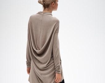 Beige Long Sleeved Tunic Top / Draped Top / Loose Tunic Top / Handmade Drape Dress / Minimalist Casual Blouse AryaSense / TTNR14BEG