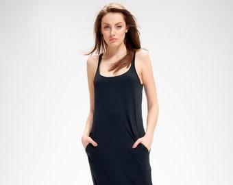 8da1f7fc635 Long Black Jumpsuit   Womens Overall   Drop Crotch Jumpsuit   Black Cotton  Romper   Yoga wear   Gift for Her   Harem Jumpsuit AryaSense