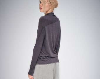 Minimalist Top / Long Sleeved Top / Urban Top / Handmade Blouse / Brown Top / Casual Top / Asymmetrical Top by AryaSense/ TPPD14BG