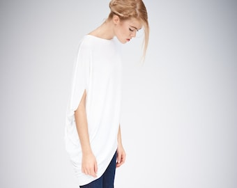 af186118d2332 Asymmetrical Off-White Top   Short Sleeved Top   Gift For Her   Loose Off- White Top   Drape Top   Off-White Blouse by AryaSense   TKDR14WH