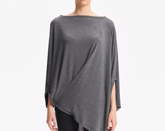 Twisted Heather Grey Top/ Oversized Asymmetrical Top/ Loose Heather Grey Top/ Soft Blouse/ Casual Blouse by Arya Sense/ TEDJ16HGR