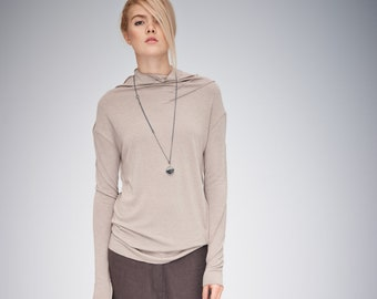 Cappuccino Minimalist Top / Long Sleeved Top / Beige Polo Blouse / Casual Top / Asymmetrical Top AryaSense TPPD14BEG