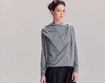 Heather Gray Top / Long Sleeved Cotton Blouse / Oversized Gray Top / Arya Yoga Clothes / Asymmetrical Blouse by AryaSense / TPRD12LG