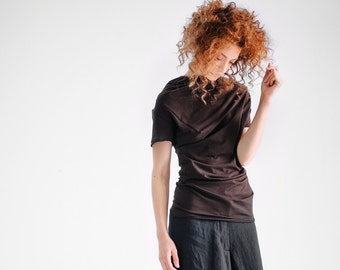 NEW / Casual Dark Brown Top/ Short Sleeved Drape Blouse/ Womens Asymmetrical Top by AryaSense/ TZVKR15BR