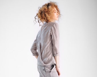 Rose Ash Classic Shirt / Loose Boatneck Top / Arya 3/4 Sleeved Cotton Shirt/Button-down Oversized Asymmetrical Shirt AryaSense SHCNB16RSAH