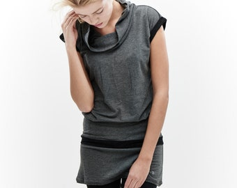 Grey Yoga Tunic Top/ Arya Capped Sleeves Top / Summer Top / Gift For Her / Women Clothing / Grey Melange Casual Blouse AryaSense TTY14GRBLK