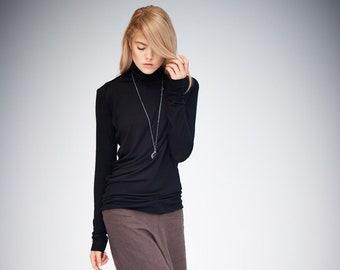Black Turtleneck / Long Sleeved Blouse / Loose Black Top / Handmade Blouse / Casual Top / Asymmetrical Top by AryaSense/ TPL14BLК
