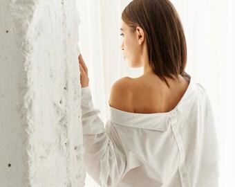 Off-White Oversized Shirt / Off Shoulder Shirt / Long Sleeved Shirt / Classic Cottoned Shirt / Asymmetrical Shirt by AryaSense/ SHR14WH