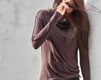 Minimalist Top / Long Sleeved Top / Muted Bordo Women's Blouse / Casual Top / Asymmetrical Top by AryaSense / TPPD14BO
