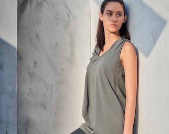 Military Green Yoga Top / Casual Loose Tank / Yoga Clothes / Gift for Her / Soft Summer Tank / Drape Collar Tank Top AryaSense TKMS17MGR