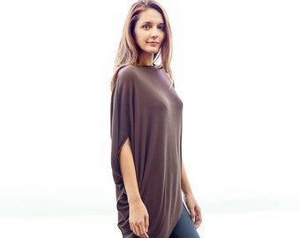 Charcoal Asymmetrical Jersey Top  Loose Casually Blouse  Draped Blouse  Gift For Her  Arya Minimalist Oversized Black Top by AryaSense