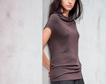 Cap Sleeved Top / High Necked Top / Muted Bordo Women's Blouse/ Casual Top / Asymmetrical Top by AryaSense/ PPKR17BO