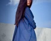 Ethereal Dark Blue Shirt / Arya Minimalist Shirt / Striped Sheer Shirt / Oversized Shirt with Raw Edges / Casually Top by AryaSense/RZBI17BU