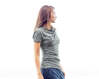 Minimalist Military Green Top / Short Sleeved Draped Blouse / Casual Green Blouse / Womens Asymmetrical Top AryaSense / TDRK14MGN