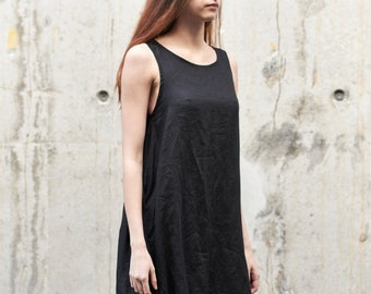 8aac935fdbbc1 Black Oversized Dress  Loose Dress  Minimalist Dress  Black Linen Dress    Sleeveless Dress  Casual Dress   Extravagant Dress By AryaSense