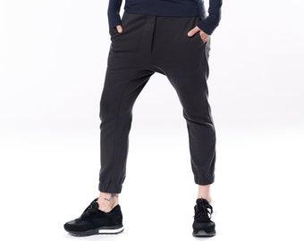 Black Pants / Cropped Pants In Dark Gray / Drop Crotch Pants / Loose Pants / Cotton Trousers / Pants by Arya Sense PNCRB20ANG