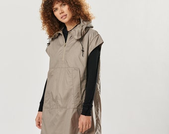 Short Sleeved Anorak / Light Hooded Jacket / Double Layered Top / Long Anorak Cappuccino Colour / Short Sleeved Jacket AryaSense JSSA21CPN