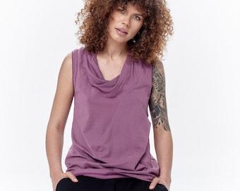 Lilac Tank Top / Loose Tank / Summer Top / Casual Top / Yoga Clothes / Drape Collar Tank Top by AryaSense / TKMS17LC