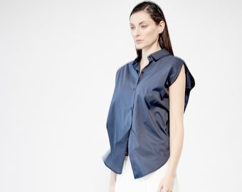 8f5eaa24adaed Elegant Blue Shirt   Urban Extravagant Shirt   Cotton Top   Womens Futuristic  Blouse   Casual Oversized Shirt with Buttons   AryaSense