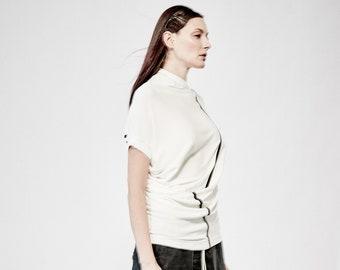 Reversible Creamy White Blouse / Handmade / Asymmetrical Blouse / Knitted Short Sleeved Bonded Top / Futuristic Blouse AryaSense 1AKUWASS