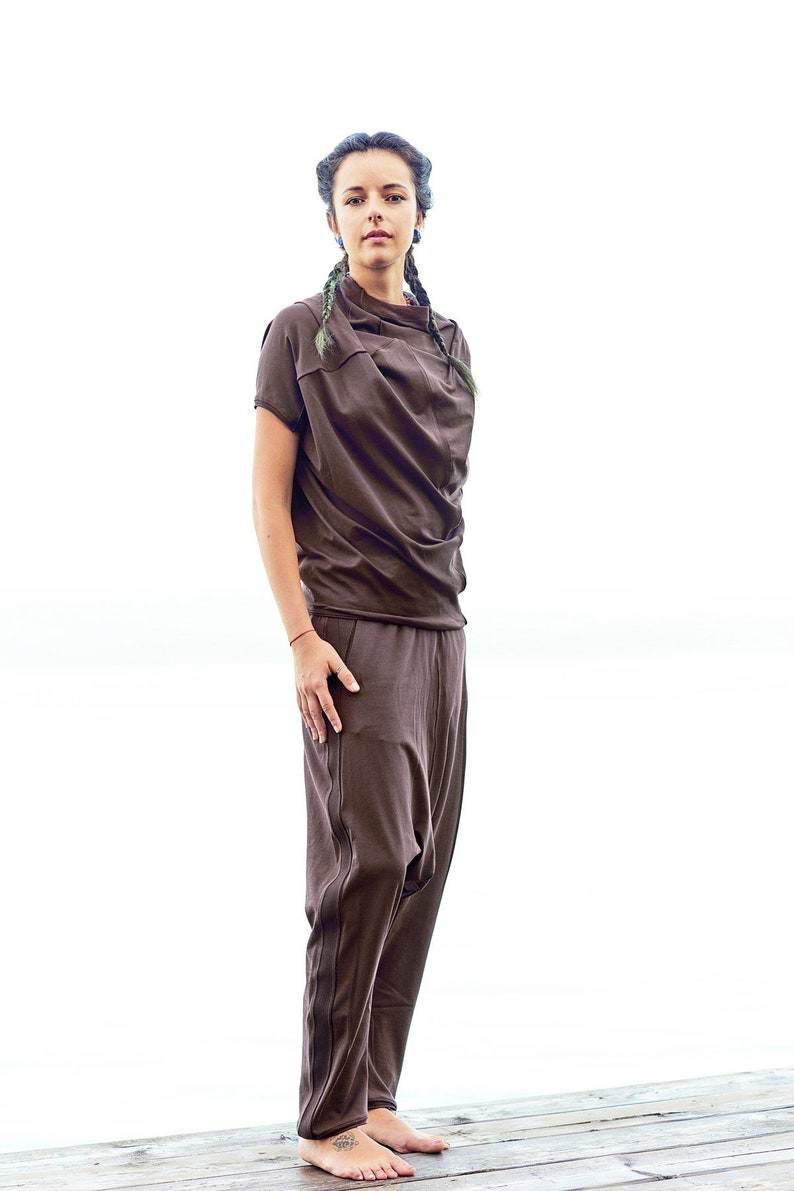 Dark Brown Cotton Blouse  Short Sleeved Blouse  Minimalist Top  Oversized Blouse  Asymmetrical Dark Brown Top AryaSense  PRRSSBN15