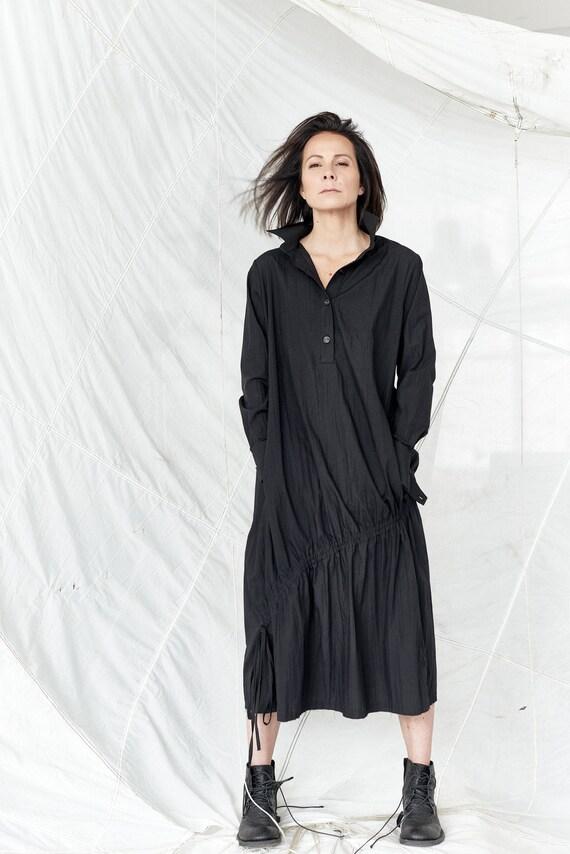 Black Irregular Dress With Strings  Cotton Dress  Summer Overall  Black Shirt  Long Sleeved Dress  Oversized Top AryaSense 8SHNRBALS19