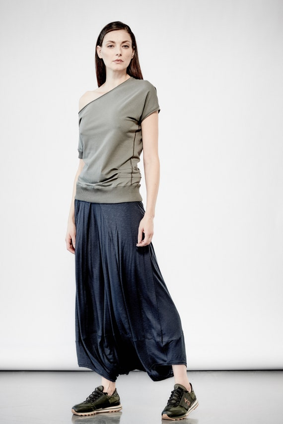 68026320de268 Muted Blue Low Crotch Skirt  Oversized Harem Skirt  Futuristic