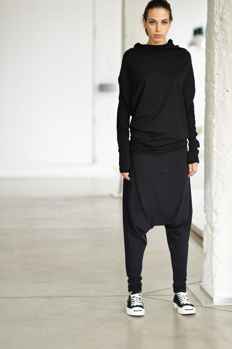 Black Top / Oversized Long Sleeved Blouse / Black Bat Top / image 0