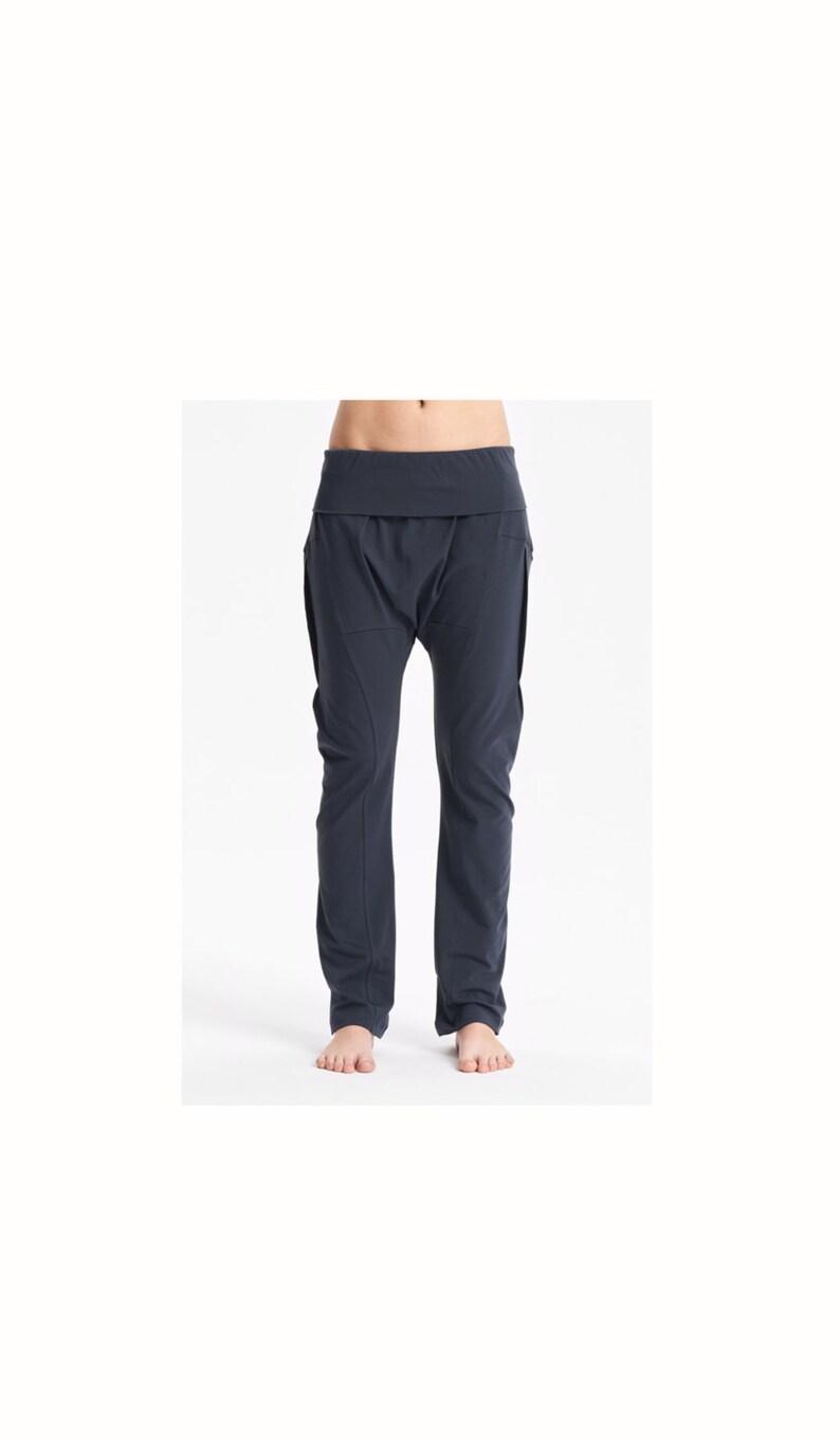 d1b937ce34 Arya Muted Blue Yoga Pants / Cottoned Drop Crotch Pants / | Etsy